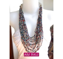 fashion beads multiple strand mix color made in bali