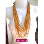 fashion beads multiple strand orange color made in bali
