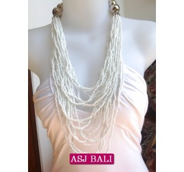 fashion beads multiple strand white color made in bali