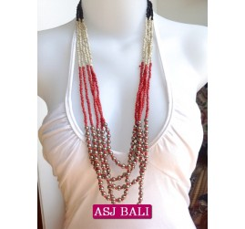 fashion necklaces 3color beads charm combinations