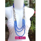 fashion phyrus beads solid blue color necklace
