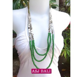 fashion phyrus beads solid green color necklace