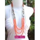 fashion phyrus beads solid orange color necklace
