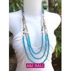 fashion phyrus beads solid turquoise color necklace