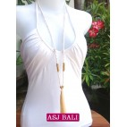 long strand necklaces tassels baby pink with chrome