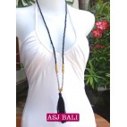 long strand necklaces tassels black with chrome