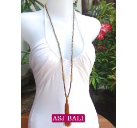 long strand necklaces tassels gold with chrome