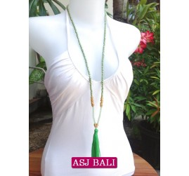long strand necklaces tassels green with chrome