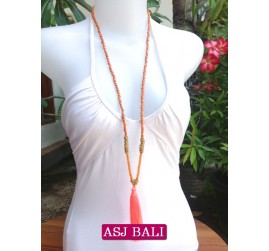 long strand necklaces tassels orange with chrome