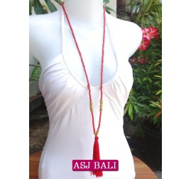long strand necklaces tassels red with chrome