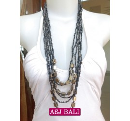 multi strand bead with steel necklaces bali