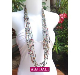 necklace long strand multiple seeds shells charm mix