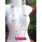 necklace beads strand multiple seeds shells charm white