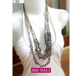 stone beads crystal grey necklaces handmade