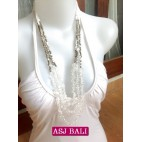 stone beads crystal white necklaces handmade