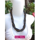 two color bead wrapted necklace short grey