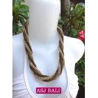 two color bead wrapted necklace short natural beads