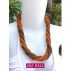 two color bead wrapt necklace short orange color