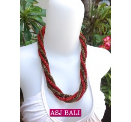 two color bead wrapted necklace short red color