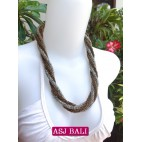 two color bead  wrapt necklace short silver