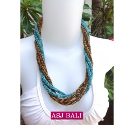 two color bead wrapt necklace short turquoise color