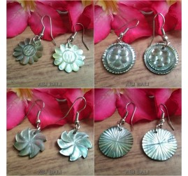 handmade organic seashells hand carving earrings