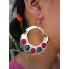 mother pearls seashells earrings painted handmade