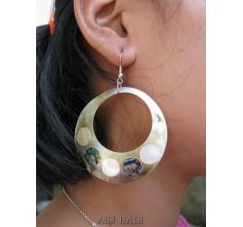 mother pearls shells earrings painting handmade