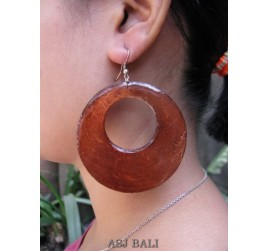 painting seashells color earrings hole brown round