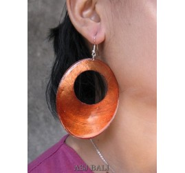 organic seashells color earrings hole orange