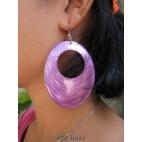 seashells color earrings hole purple oval
