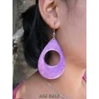 painting seashells earrings hole purple tears