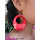 organic painting seashells color earrings hole red