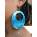 organic painting seashells earrings turquoise oval