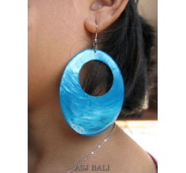 organic painting seashells earrings turquoise oval