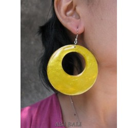 painting seashells color earrings hole yellow round
