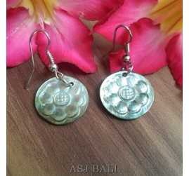 organic seashells hand carved earrings flower bali