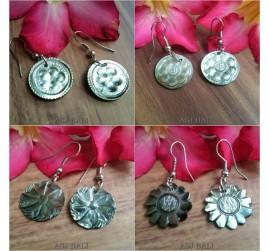 4 model seashells hand carved earrings bali