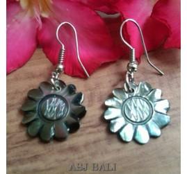 organic seashells hand carved sun flower earrings