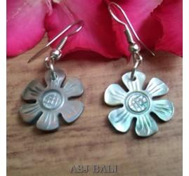seashells hand carving flower earrings handmade