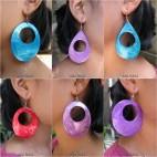 organic seashells painted earrings 6color