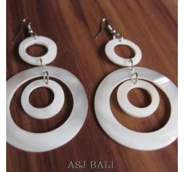 organic seashells triple white mother pearls earrings