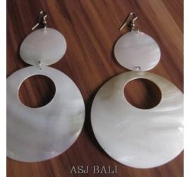organic seashells white handmade earrings bali