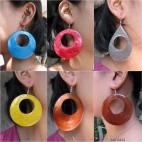 seashells organic painted earrings handmade 6color