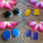 stainless seashells earrings coloring resin