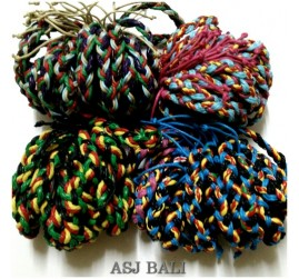 4color leather strings hemp bracelet multi color