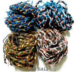4color leather strings hemp bracelet bali