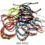 bali hemp bracelets 4color wood bead leather