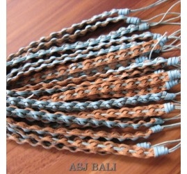 genuine leather hemp bracelets wired two colors