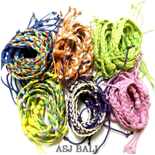 leather hemp bracelet strings multi color